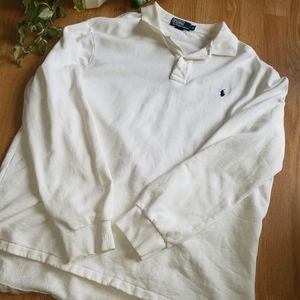 Men's Polo Ralph Lauren Sweatshirt Henley XL White